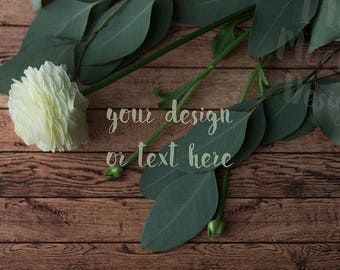 White Flower and Leaves  / Stock Photography / Product Mockup / High Res File