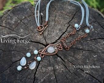 Women's necklace, wire wrap pendant, wire wrap, wire wrapped jewelry, wire wrapped pendant, wire pendant, copper jewelry, copper pendant