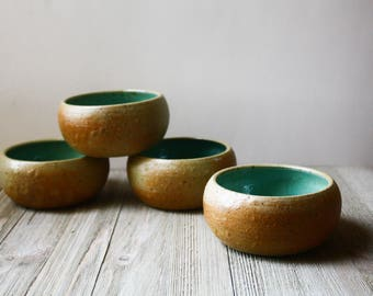Boreal Green Stackable Containers- handmade pottery