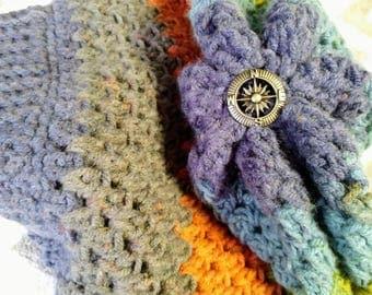 Crocheted Nautical Slouch Beanie