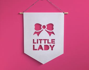 Little Lady Wall Hanging Banner, Girl room decoration, Nursery Flags, Baby room decoration
