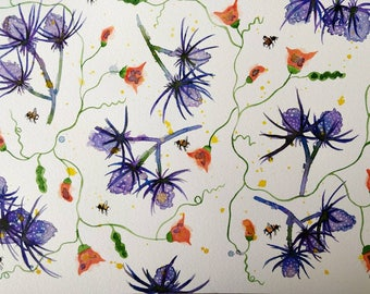 Sea Holly, Sweet Peas and Bees original watercolour painting. A3.