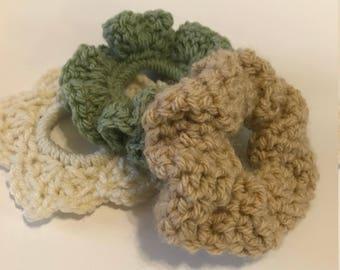 Handmade Crochet Srunchies Set of 3 Neutrals