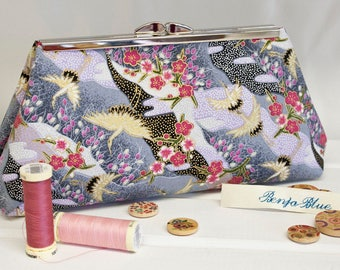 Clutch Bag - Purse - Hand Bag - Evening Bag - Toiletry Bag - Handmade bag featuring gorgeous Japanese fabric with metallic accents