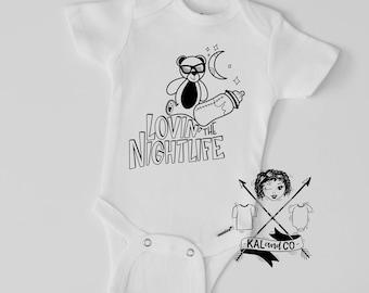 Loving the nightlife onesie, funny onesie, matching tees, sibling tees, baby shower gift, baby announcement