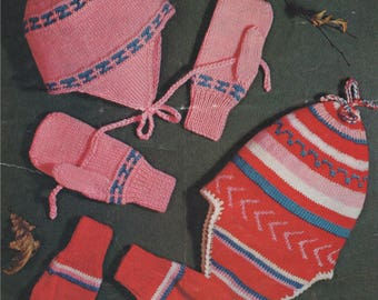 Childrens Hats and Mittens PDF Knitting Pattern : Boys or Girls . Peruvian Style Caps . Instant Download