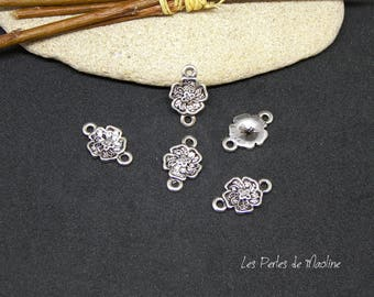Set of 4 connectors form flower - 18 x 11 mm - silver - ref:v054