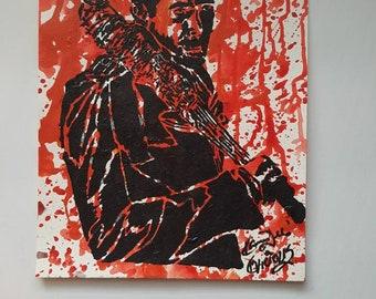 Negan Jeffrey Dean Morgan Walking Dead TWD 9x12 KVicious Paper Graffiti Original Art acrylic painting