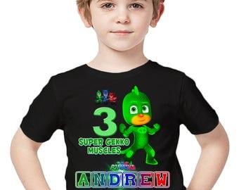 Customized PJ Masks Shirt Add Name & Age Custom Gekko Birthday Party Tee