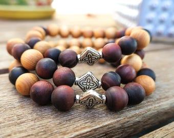 Red Tiger Gemstone   Rosewood   Aromatherapy   Essential Oil   Diffuser Bracelet   Beaded Bracelet   Yoga   Stretch Bracelet   Handmade