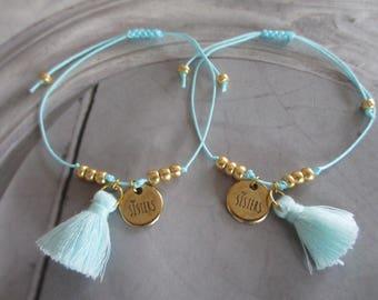 Bracelet set sisters sisters tassel gold turquoise
