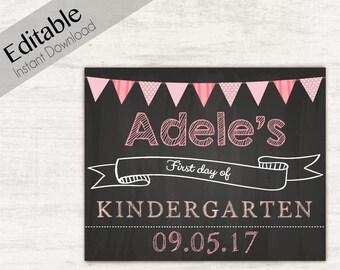 First Day of School Chalkboard Print, Editable Text, DIY, Art Print, Chalkboard Sign, Kindergarten, Grade School, INSTANT DOWNLOAD