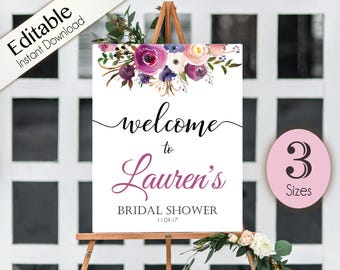 Welcome Sign Bridal Shower Template, Editable PDF, ANY EVENT, Bridal Baby Wedding Baptism Birthday Shower Sign,  Lavender Purple Floral