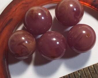 FIVE 9mm marbled purple vintage bakelite beads