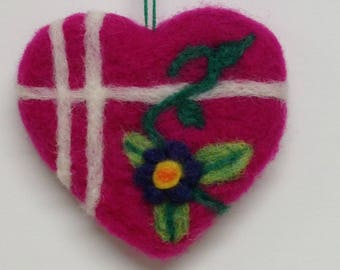 Needle Felted Pink Heart Ornament