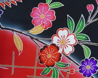 Japanese Silk KIMONO Fabric - Bingata Style Garden Butterflies (sample) 1