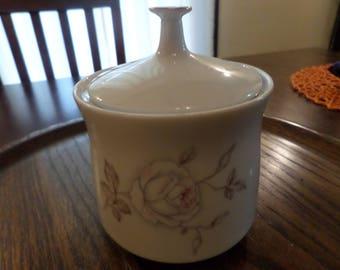 MINT! 1960's Vintage Johann Haviland Bavarian China Lidded Sugar Bowl/Trinket Holder in Dawn Rose Pattern