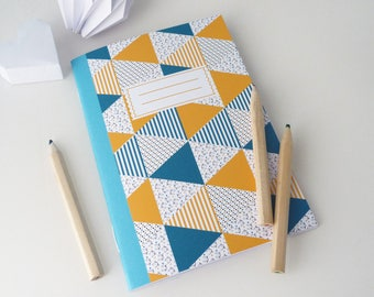 Notebook A6 Scandinavian patterned yellow and blue