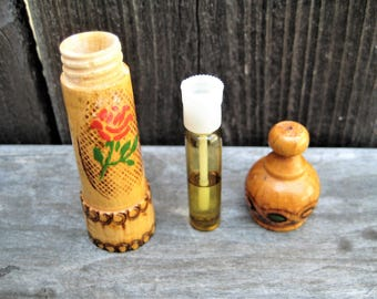 Vintage Bavarian Rose oil in Carved Wood Container