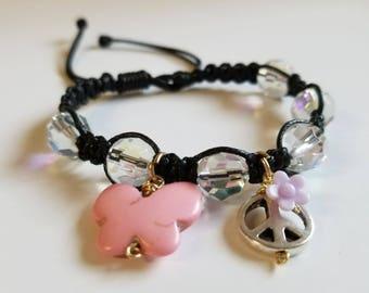 Pink butterfly bracelet