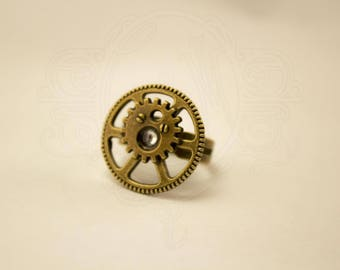 Bronze steampunk inspired ring