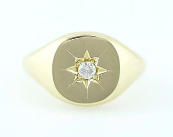 Signet Ring, Diamond Signet Ring, Minimalist Signet Ring, Star Setting Natural Diamond Signet Ring, 14k Solid Gold Signet Ring