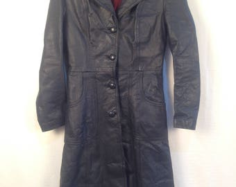 Womens Dark Navy Blue Vintage 3/4 Leather Trench Coat