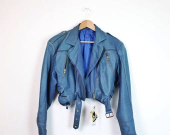 VINTAGE •  cropped leather jacket • 80s • soft leather • blue leather jacket • zipper jacket • smooth leather
