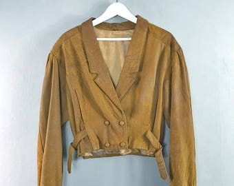 VINTAGE • Short SOFT leather jacket • M • Leather bomber jacket • Woman's jacket • Vintage jacket • Light brown • made in England