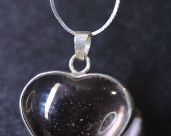 Sweetheart crystal pendant necklace in silver chain