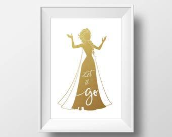 Wall Art Gold Foil Digital Princess Elsa Print,Frozen Disney Quote Print,Printable Foil Disney,Glitter,Nursery Print,Baby Gift,Room Decor
