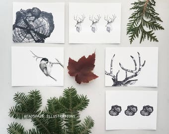 Winter Woodland Blank A6 Notecards 5 Pack Deer Antler Chickadee Wood Greeting Thank you Gift Colored Pencil Art Headspace Illustrations