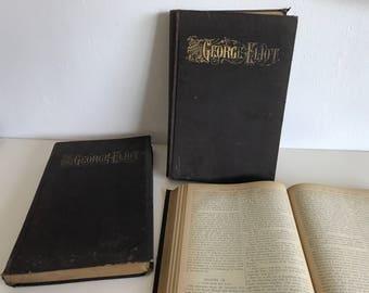Antique books, 3 volumes, works of George Elliot