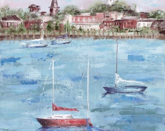 Annapolis Summer Chesapeake: Fine art giclee Annapolis print from original acrylic painting of Annapolis