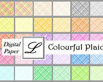 SALE 50% OFF - Colourful Plaids, gorgeous digi (digital) papers for scrapbooking and card making  - instant download in PDF format