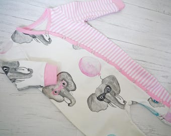 Elephant and stripe Baby Grow, baby girls clothes, Baby Clothes, Baby romper, sleep suit, Newborn, coming home outfit, JMW Kids, Baby Gift