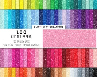 100 Glitter Paper, Digital Paper, Commercial use, rainbow, glittered paper, digital scrap booking paper, glittered scrapbooking paper