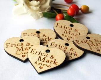 Wedding favor, Wedding tags, Wedding favor tags, Wood tags, Wedding favor rustic, Wooden hearts, Wedding hearts, Wooden tags, Tags favors