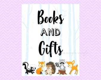 Books & Gifts Sign, Books and Gifts Table Sign, Printable, Baby Shower Party, Woodland Design style