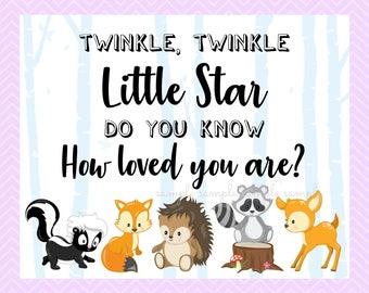 Twinkle Twinkle Little Star Do You Know How Loved You Are Sign, Gender Reveal Table Sign, Printable, Baby Shower Party Woodland Design style