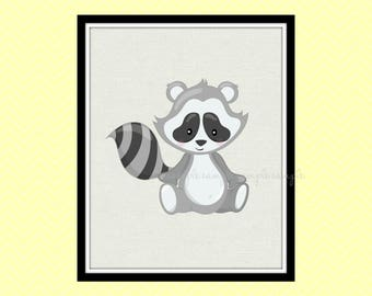 Woodland Nursery Decor, Woodland Animals Printable Wall Art, Racoon Wall Art Decor, Baby Wall Art Decor, Instant Download