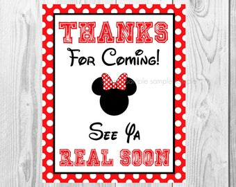 """Thanks for Coming See Ya Real Soon Sign, Minnie Mouse Birthday Party Sign, 8""""x10"""" Printable, Instant Download"""