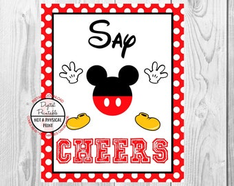 "Cheers Sign, Mickey Mouse Birthday Party Sign, 8""x10"" Printable, Instant Download"