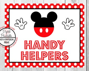 """Handy Helpers Sign, Mickey Mouse Birthday Party Sign, 8""""x10"""" Printable, Instant Download"""