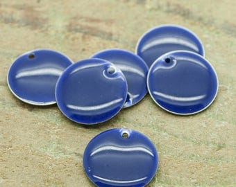 Charms enameled round blue lot of 50