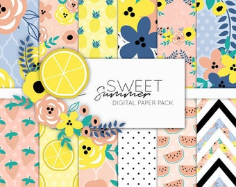 Sweet Summer Time Digital Paper Pack | Scrapbook Paper | Printable Background | 12 JPG, 300dpi files.
