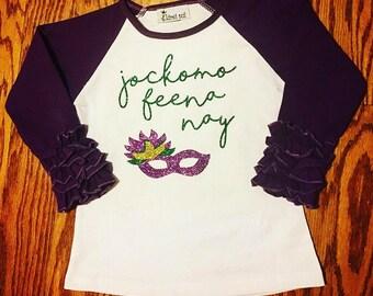 NEXT DAY SHIPPING! Girls Mardi Gras ruffle raglan.  Toddler parade shirt for New Orleans.  Jockomo Feema Nay t-shirt.
