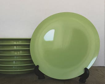 Party Plates, Plastic Plates, Green Plates, Tuppeware Plates, Vintage Tupperware, Picnic Plates, Tableware, Bread Plates, Dessert Plates