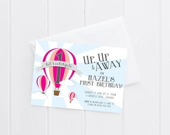 Girls Hot Air Balloon Birthday Party Invitation | Printable Kids Brithday Invitation | Gender Neutral Birthday Invitation