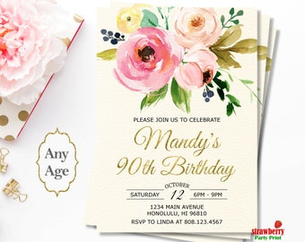 90th Birthday Invitations for Women. Floral Birthday Invitation. Surprise Birthday Invitation. Gold Foil. Cheers to 90 Years. A32